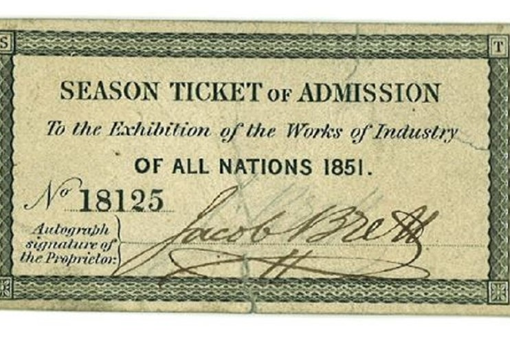 Brett Season ticket to Great Exhibition 1851.jpg