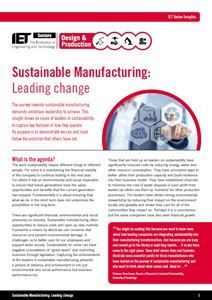 IET factfile: Sustainable manufacturing: leading change